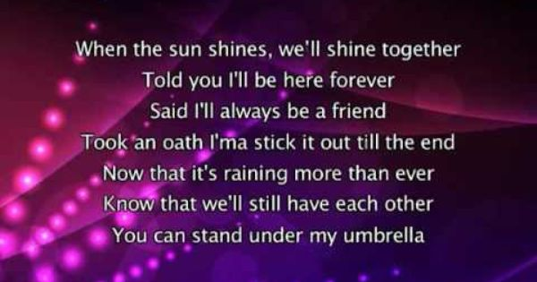 Rihanna Umbrella Lyrics In Video Youtube With Images Cool