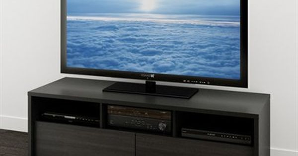 Nexera Sereni T 60 In Black And Ebony Tv Stand 60 Inch Tv Stand Tv Stand Entertainment System