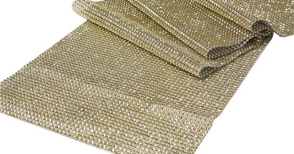 Rhinestone mesh table runner 15 ft roll gold what for 12 ft table runner