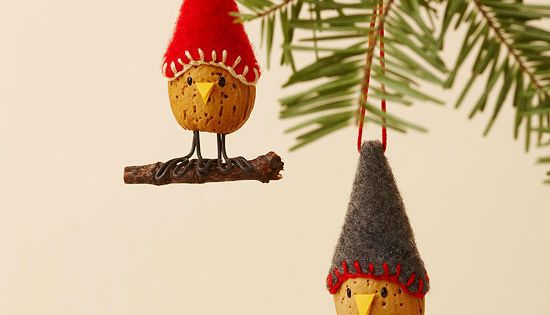 Almond Bird Christmas Ornaments - 25 Handmade Christmas Ideas over at Christmas