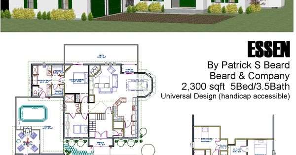 Essen 5 bedroom 3 5 bath under 2 300 sqft open floor plan for Universal design floor plans