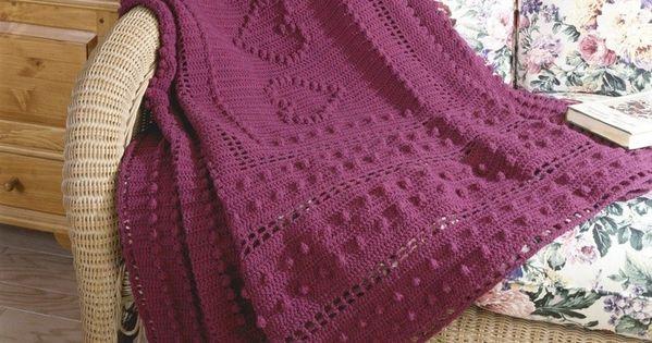 Free Knitting Patterns For Lap Blankets : DIY Crochet Bobble Heart Blanket Free Knitting Pattern - Lap Blanket, Rattan ...