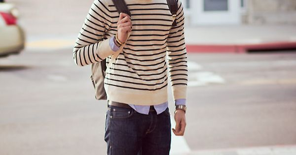 stripes and jeans winter mens fashion outfit jeans sweater