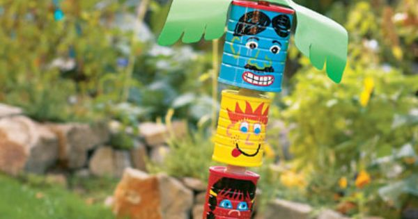 Recycle Cans Totem Pole Craft For Kids