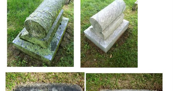 Before and after gravestone cleaning with d 2 biological for Non toxic concrete cleaner