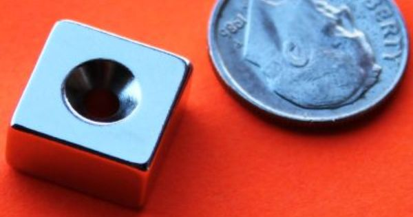 Neodymium Magnets N42 Strong 1 2 Inch X 1 2 Inch X 1 4 Inch Thick With Countersunk Center Hole Ndfeb Block Rare Ea Neodymium Magnets Rare Earth Magnets Magnets