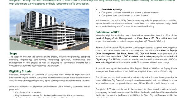 REQUEST FOR PROPOSAL IN DEVELOPMENT OF MIXED USE INTEGRATED