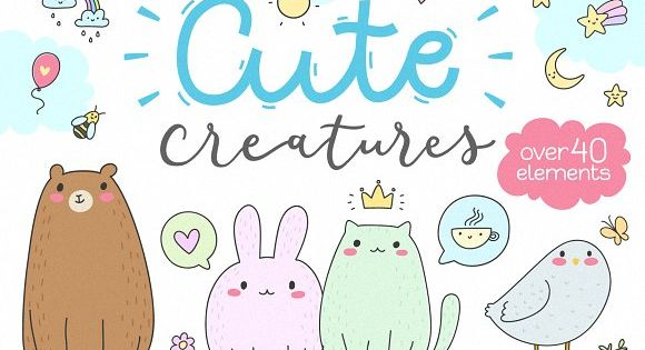 Cute Creatures Vector Set – illustrations style