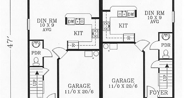 Duplex plan chp 22499 at house plans for Stacked duplex floor plans