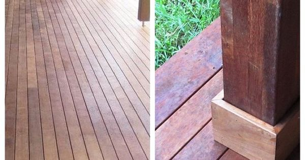 Adding the final touch to the bottom of the oiled merbau for Composite decking wickes