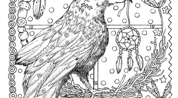 that so raven coloring pages   Instant Download 5 Pages Animal Spirits to Color Wolf ...