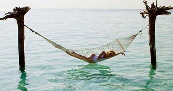 Beach hammock in the sea. heaven