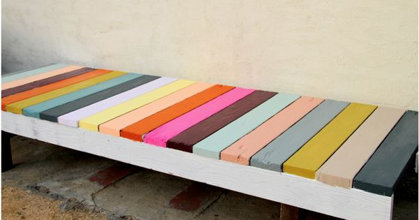 Colorful DIY pallet bench for outside