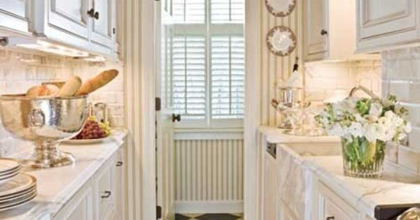 White kitchen cabinets striped wallpaper and the counters for Striped kitchen wallpaper