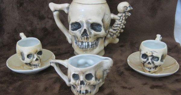 Rare Antique Late 1800's SKULLS Fine Porcelain Teapot Tea Cup Saucer &