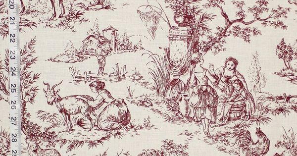Purple brown toile fabric French country- destash- 2 yards from Brick House Fabric ...