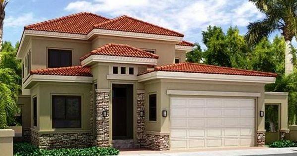 Fachadas de casas de color beige y tejas rojas fachadas for Fachadas minimalistas para casas pequenas