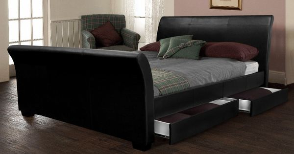 4 drawers sleigh bed black faux leather houses living room pinterest drawers bed - Leather beds with storage drawers ...