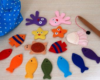 Felt fishing game Felt toy Birthday gift Sensory toy for toddlers Busy book Montessori toy Magnetic fishing game Quiet book