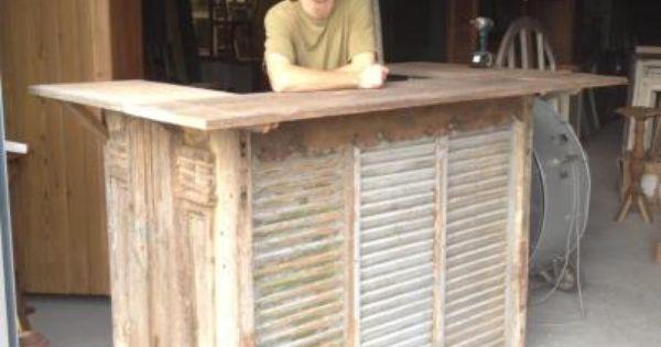 Reception Desk Or Bar Designed From Antique Door Shutters
