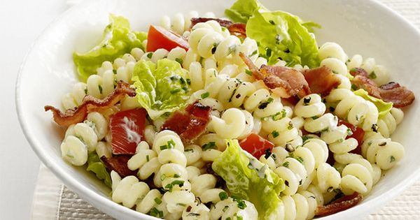 Summer cookout food! BLT pasta salad with bacon, mayo, tomatoes, and lettuce.