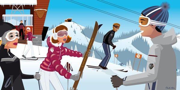 Illustration Charlie Adam Pour 1907 Hiver 10 11 Sport D Hiver Ski Vintage Dessin Montagne