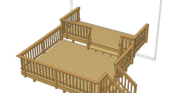 14 X 12 Deck W 14 X 6 Step Up At Menards With Images Corner Deck Deck Small Garden Design