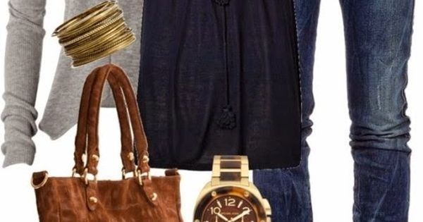 I am really loving this grey/navy/brown color combo. Everything in this picture