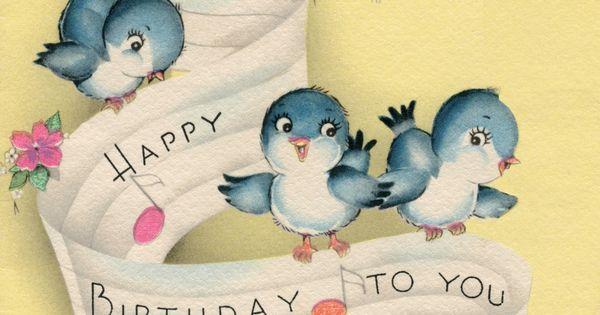 Vintage Blue Bird Music Birthday Greeting Card