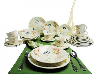 Aparelho De Jantar Cha 30 Pecas Biona Ceramica Redondo Colorido