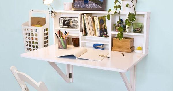Bureau mural blanc avec rangement et tablette rabattable - Tablette murale bureau ...