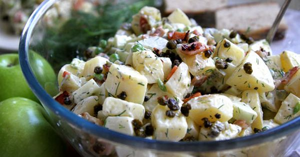 potato salad with green apple, crispy bacon, and capers (I'd keep the ...