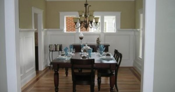 tall wainscoting for dining room with dark gray upper walls | if