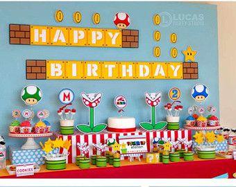 Super Mario Bros Inspired Centerpiece Sticks  Mario Birthday Party