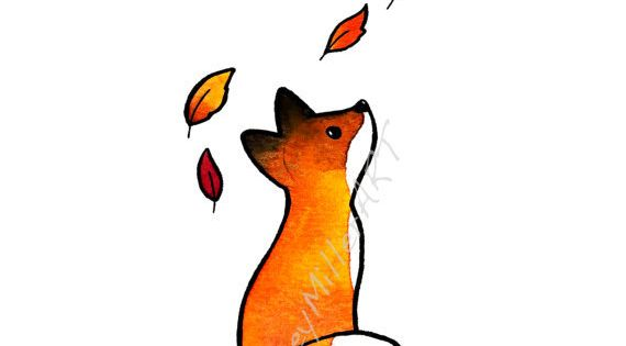 """The Fox and The Leaves"" Such a cute little guy! I always"