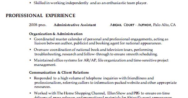 Combination Resume Sample: Administrative, Client Relations, Customer Service That Has No