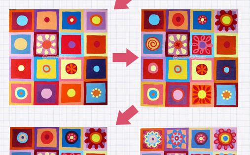 A fun step-by-step art lesson demonstrating how to create colorful abstract art