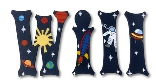 Hanging Wooden Wall Letters Custom Painted Wooden Letters Name Letters  Nursery Name Letters Baby Name Wall Decor Outer Space Planet Rocket