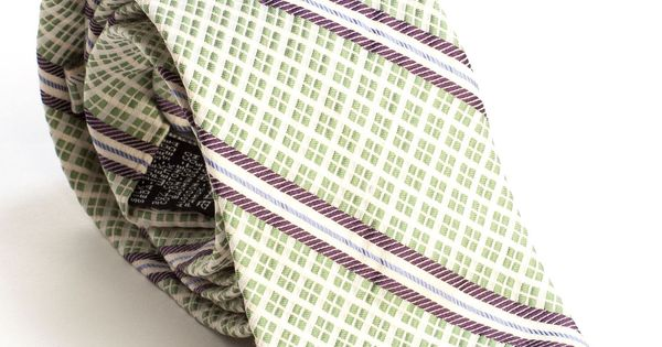 Italian Luxury Woven Stripes Silk Cotton Tie-Green