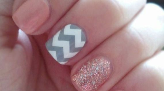 Light pink and chevron nail design. 15 fun summer nail ideas..