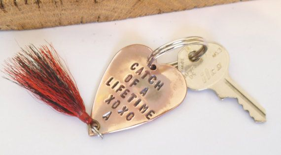 Personalized keychain for men handstamped key chain for for Fishing gifts for him
