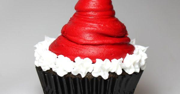 santa hat cupcakes! i need more christmas cupcake ideas!