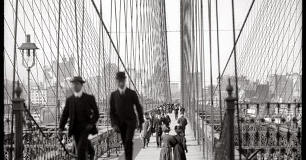 Vintage photo of the Brooklyn Bridge walkway, New York City. Date unknown.