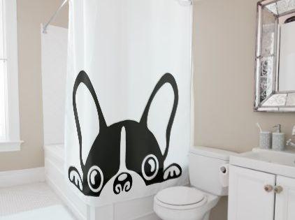 Cute French Bulldog Pug Monogram Shower Curtain Zazzle Com