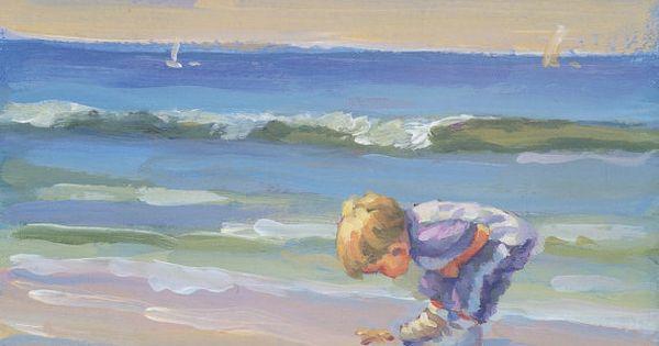 Little Boy At The Beach Impressionist Art Contemporary Art Child S Room Beach Wall Art Ocean Scene Seaside Schilderijen Ideeen Op Het Strand Aquarellen