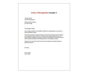 Letter Of Resignation 1 Resignation Template Resignation Letter