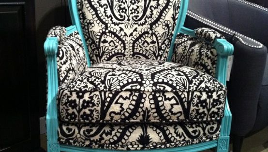 Love revamping old chairs with bold fabrics and bright colors