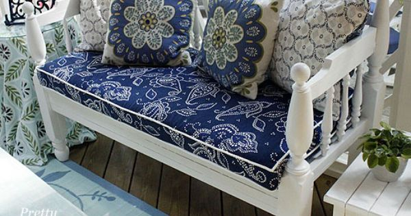 outdoor bench cushion cover diy - made out of shower curtain -
