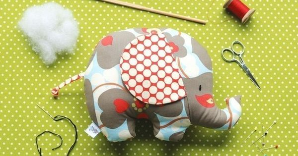 Baby Toy Tutorial - Elephant Sewing Pattern - Soft Toy - Tilly