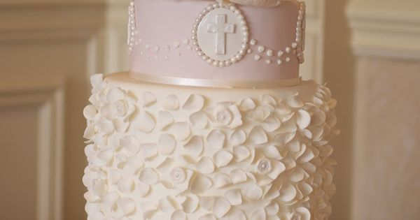 Amazing Pale Pink Christening Cake Picture